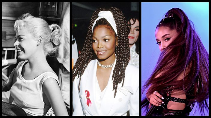 Sandra Dee, Janet Jackson and Ariana Grande all with variations on the ponytail