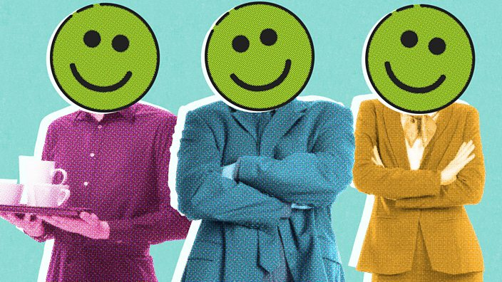 Three people with smiley faces