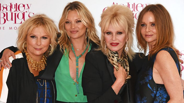 Kate Moss with cast of Ab Fab