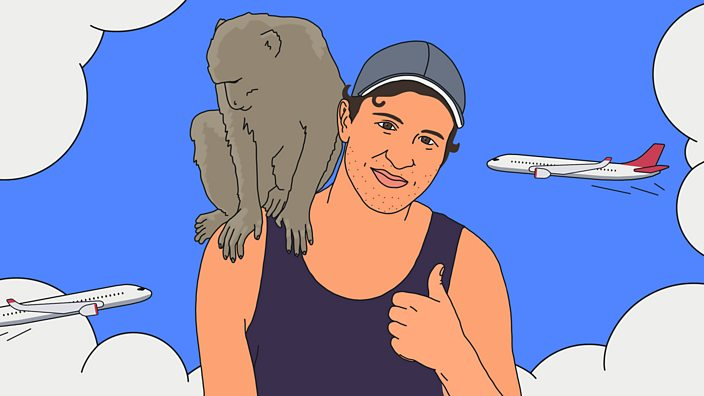 An illustration of James Asquith with a monkey on his shoulder and planes flying overhead