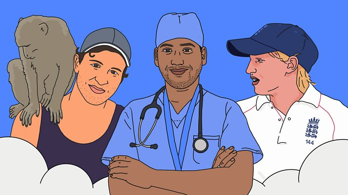 An illustration of the three record breakers – James, Arpan and Holly