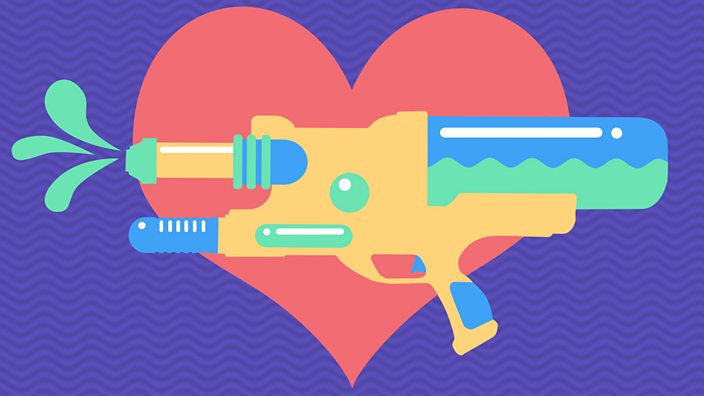 A water gun over a heart