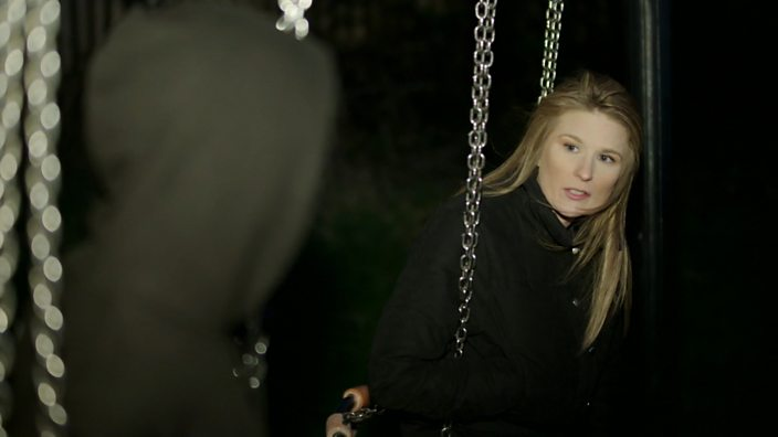 A still from Paedophile Hunters showing the presenter, Livvy Haydock, in conversation with one of the decoys from Guardians of the North