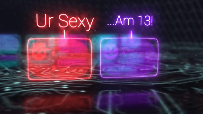 A graphic showing two online profiles messaging each other, with the text 'Ur Sexy' written above
