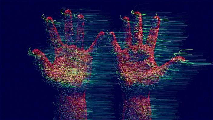 Distorted image of hands