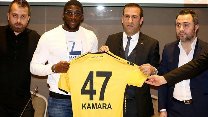 French footballer Aboubakar Kamara (2nd Left) and President of Yeni Malatyaspor Adil Gevrek (2nd Right)