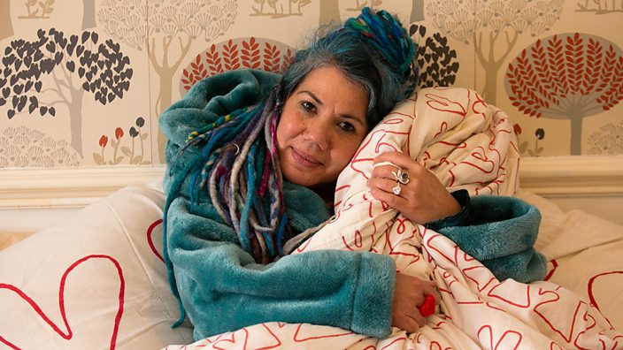 A photo of a woman who married her duvet