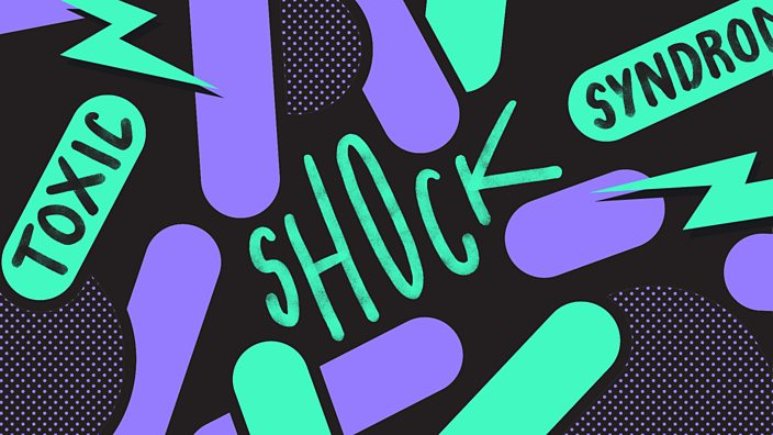 An abstract bacteria pattern in purple and toxic green, with words toxic shock syndrome arranged in the negative space