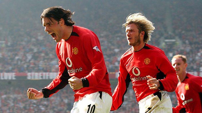 Van Nistelrooy celebrates with David Beckham