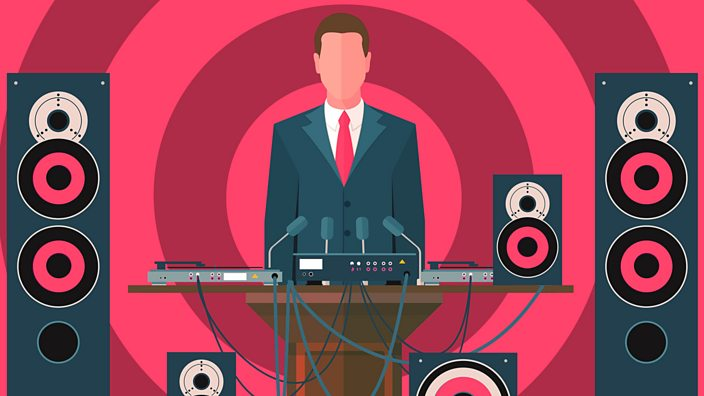 An illustration of a politician behind record decks