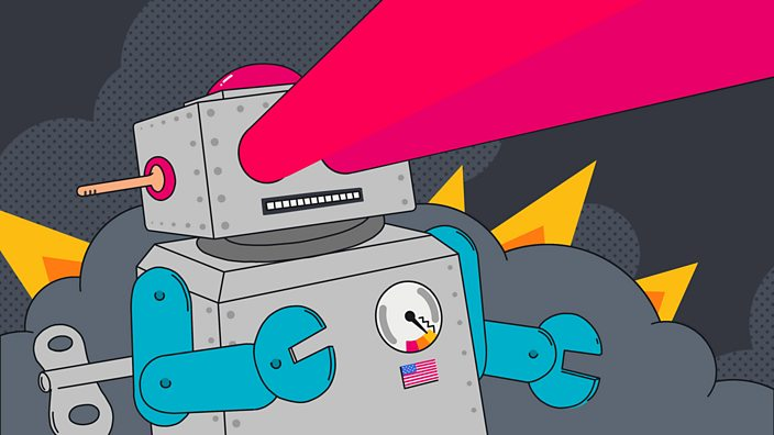 An illustration of a wind-up robot with lasers shooting from its eyes