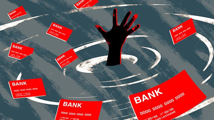 An illustration of a hand in a whirlpool of credit cards