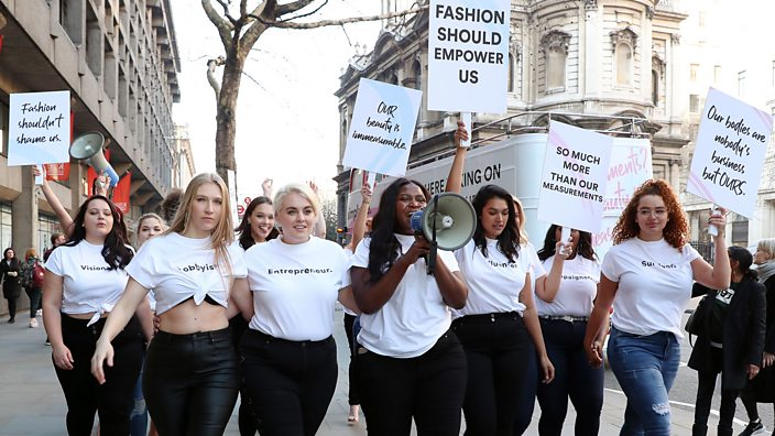 Body positivity protests at London Fashion Week 2019