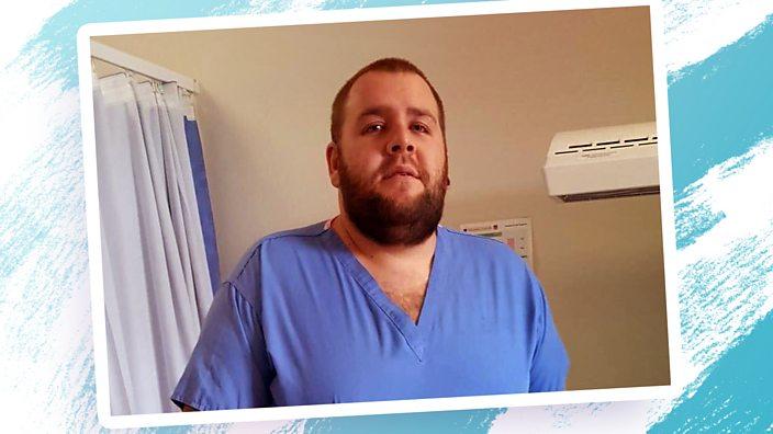 Lee in scrubs at hospital