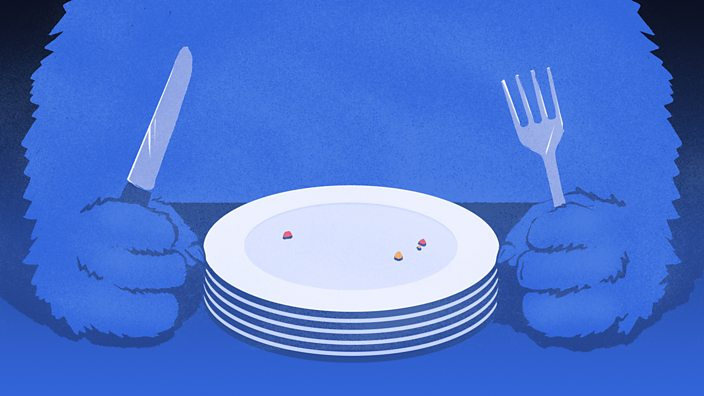 A stack of empty plates piled up in front of a monster holding a knife and fork