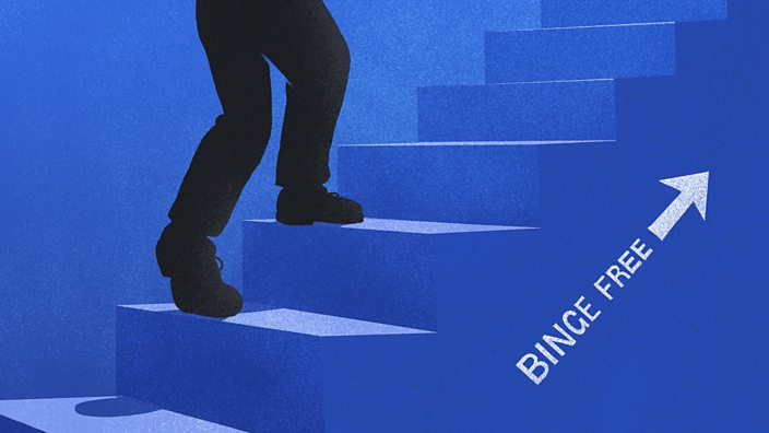 A figure climbing a staircase on which there is an arrow and the words binge free pointing towards the top