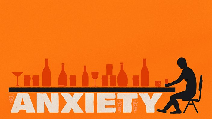 An illustration of the word anxiety being crushed by a table top full of glasses and bottles of alcohol