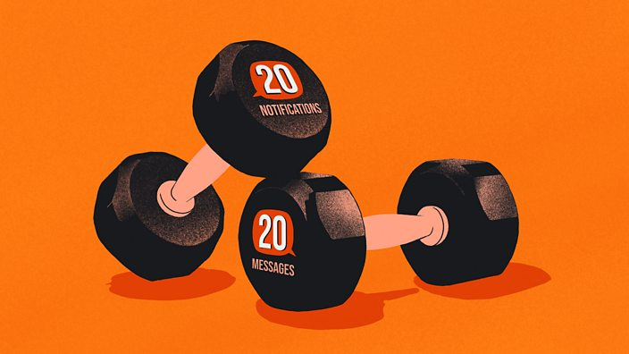 An illustration of two dumbbell weights with '20 notifications' and '20 messages' on the side