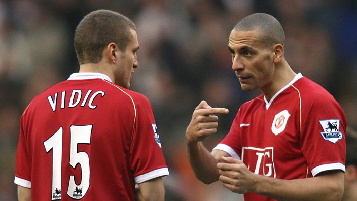 Nemanja Vidic and Rio Ferdinand at Manchester United