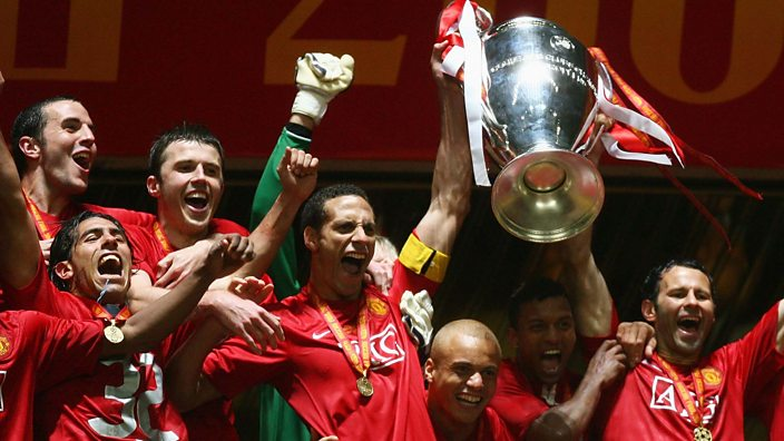 Rio lifts the Champions League trophy in 2008