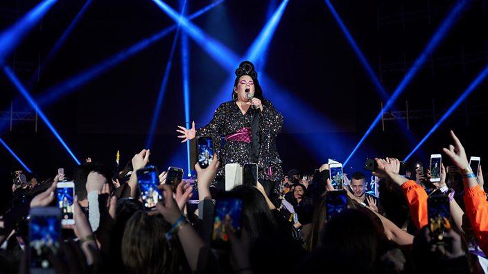 A photo of Eurovision 2018 winner Netta Barzilai performing at Jewrovision