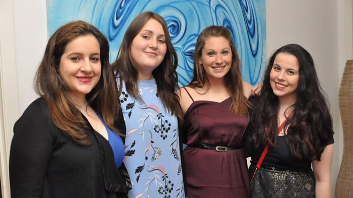 A photo of Amie with her uni friends in 2012