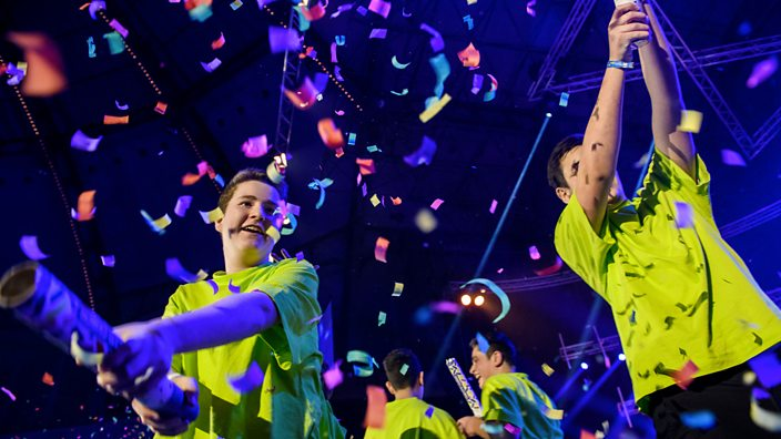 A photo of Jewrovision 2019 showing kids and confetti