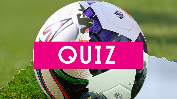 Four footballs stitched together with QUIZ written over them