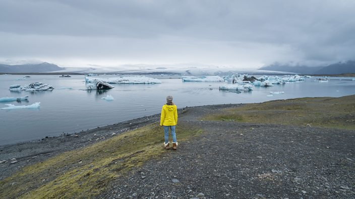 A woman stands in front of melting ice fields