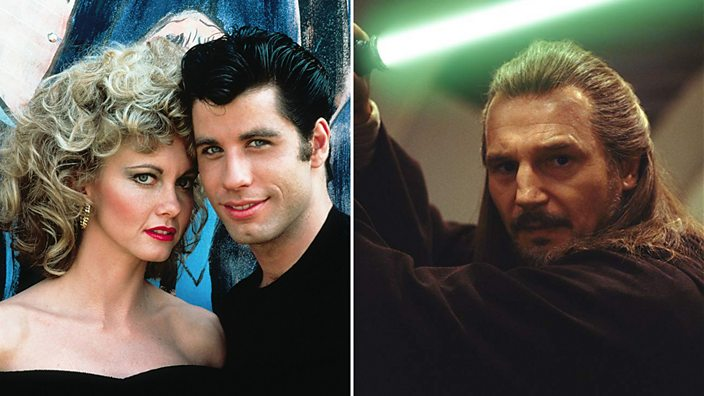 Two Images side-by-side, one from Grease showing Olivia Newton-John and John Travolta and another image of Liam Neeson in Star Wars Episode 1: The Phantom Menace