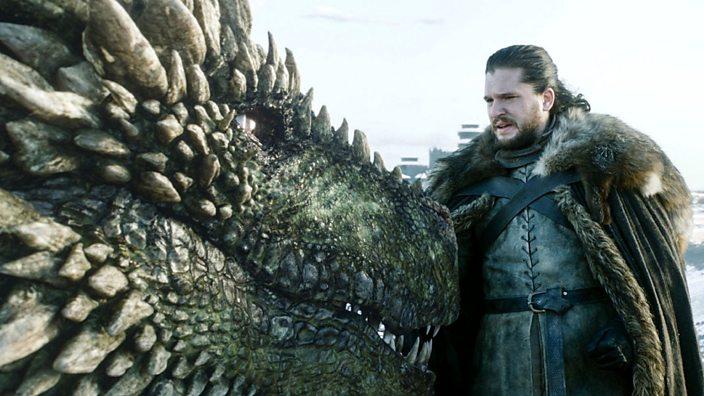 Jon Snow with a Dragon