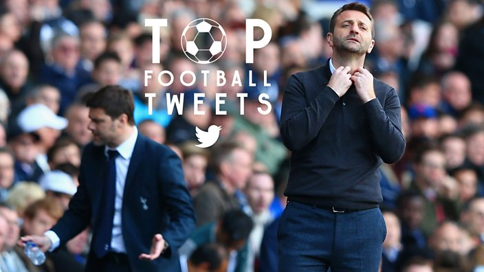 Tim Sherwood holding his collar while looking stressed on the sidelines while manager of Aston Villa.