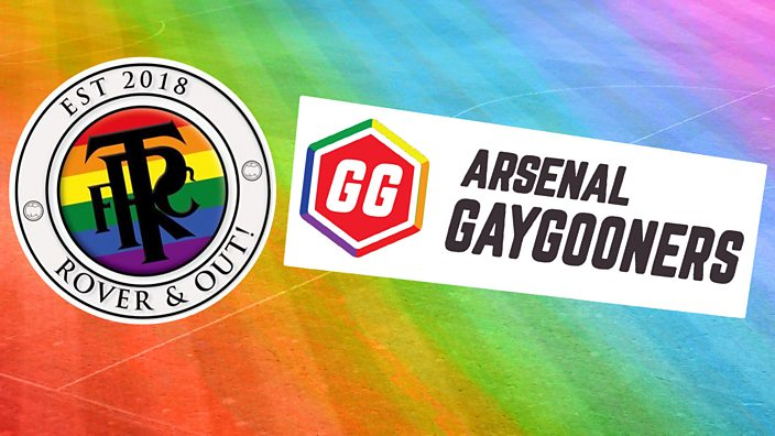 Tranmere and Arsenal LGBTQ logos