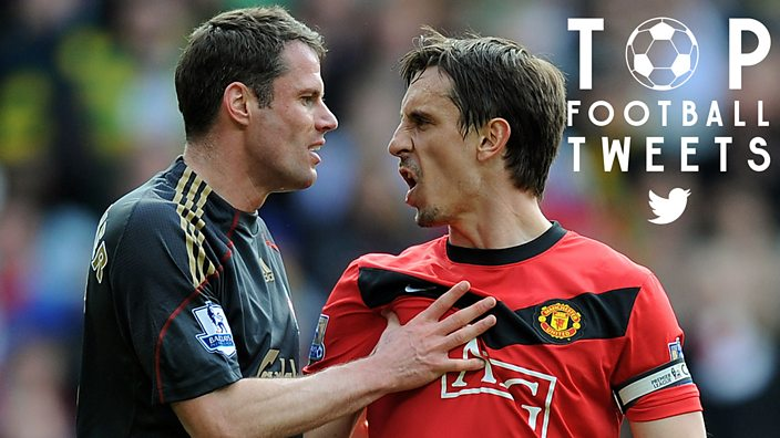 Jamie Carragher and Gary Neville have an argument on pitch