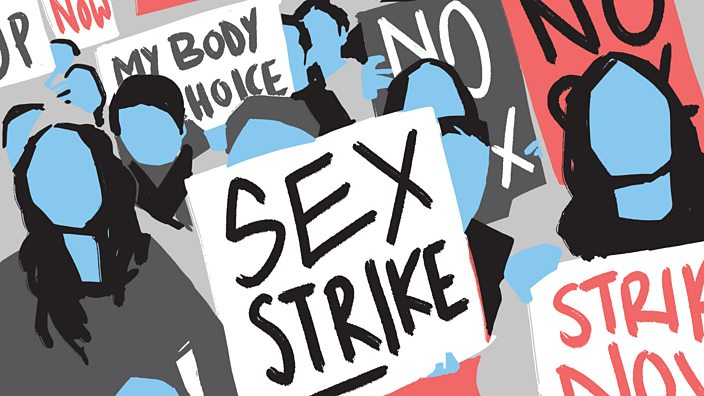 An illustration of a women's protest march with figures holding placards saying 'no sex'