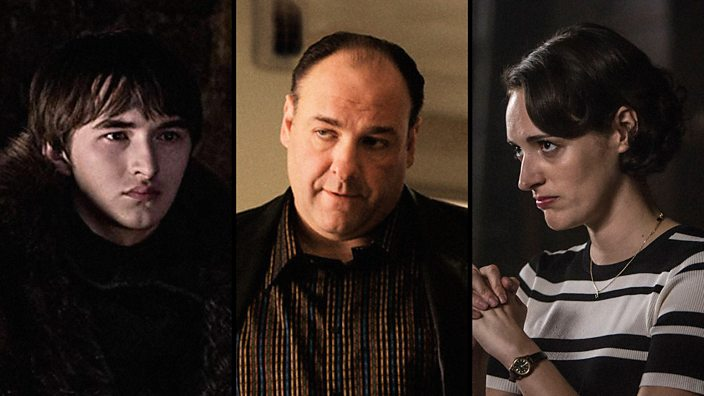 A composite of TV series characters showing Bran from Game of Thrones, Tony Soprano from the Sopranos and Phoebe Waller-Bridge starring in Fleabag