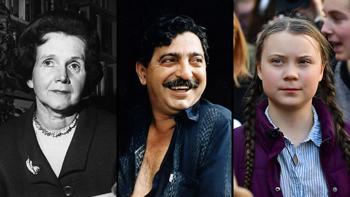 A composite featuring 3 notable eco warriors – Rachel Carson, Chico Mendes and Greta Thunberg