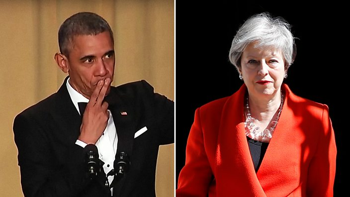 Composite showing the Obama mic drop from his last Press Correspondents' Dinner at the White House and Theresa May's resignation speech outside 10 Downing Street
