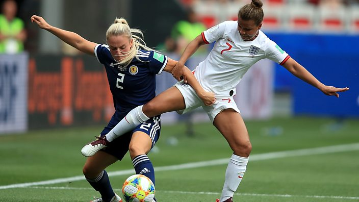 Kirsty Smith and Nikita Parris challenge for ball