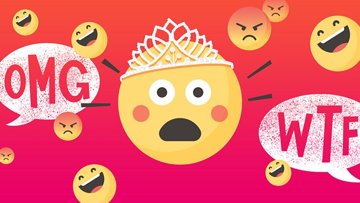 A shocked emoji icon wearing a tiara surrounded by laughing and angry emojis and the words OMG, WTF
