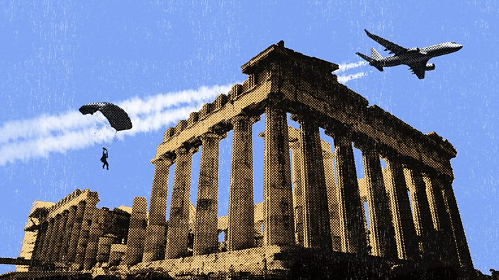 A collage of someone parachuting out a plane over the top of the Athens
