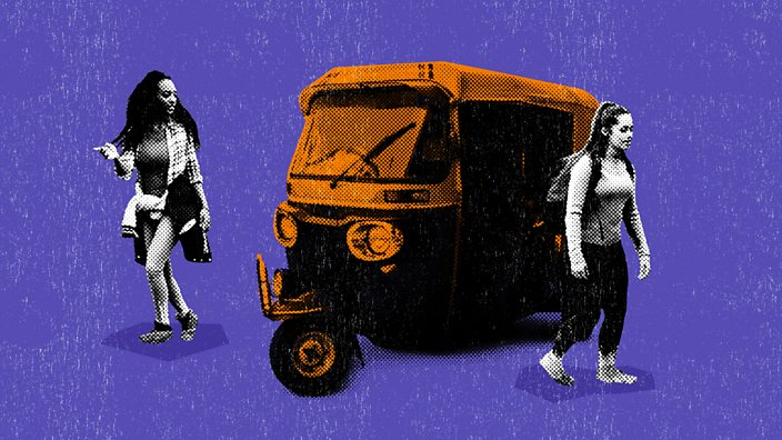 A collage of two women walking opposite directions with a tuk tuk between them