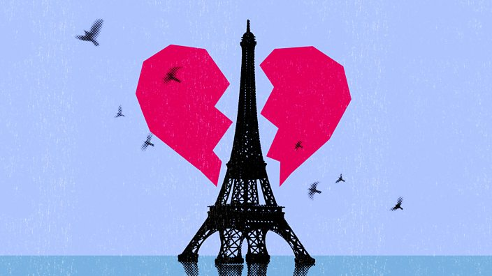 A collage of the Eiffel Tower splitting a heart in two