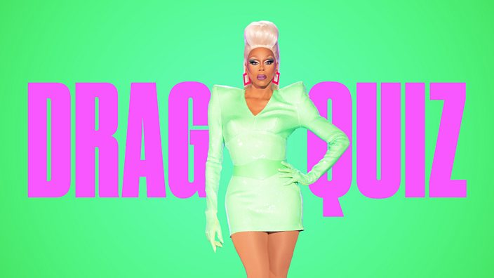 Drag queen RuPaul on a green background with purple text that reads 'drag quiz'