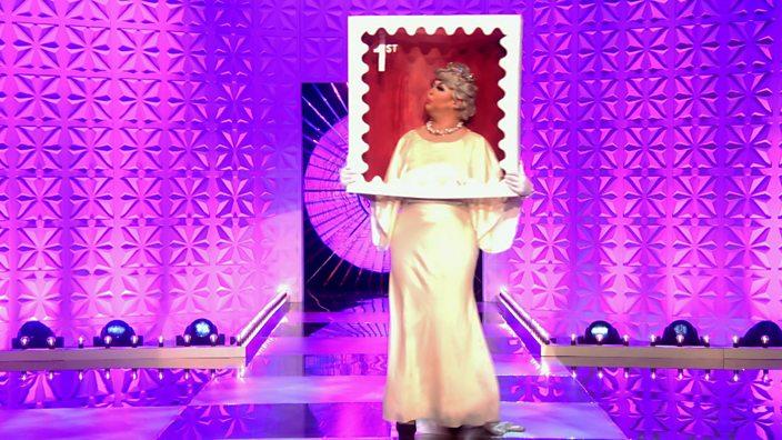 Drag Race UK episode 1 Sum Ting Wong stamp costume