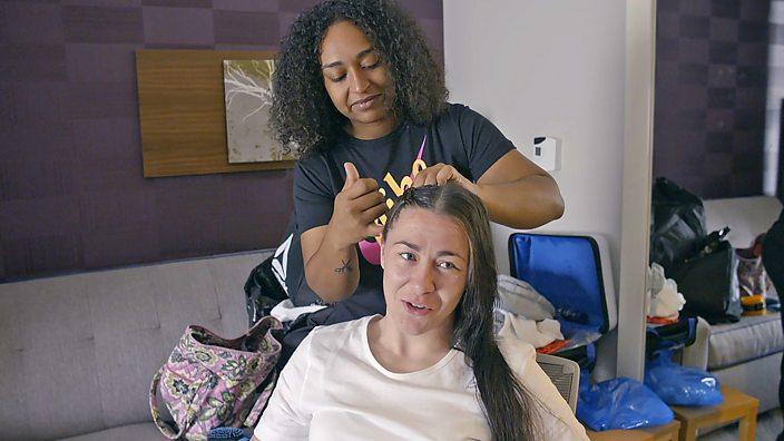 Molly McCann has hair braided