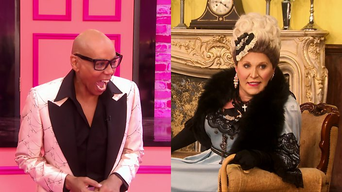 An image of Drag Race host RuPaul busting with laughter next to an image of drag queen The Vivienne in her Downton Draggy costume