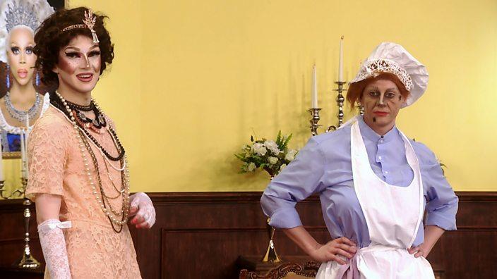 Drag Race UK Episode 2 Downton Draggy Scaredy Kat and Davina Di Campo