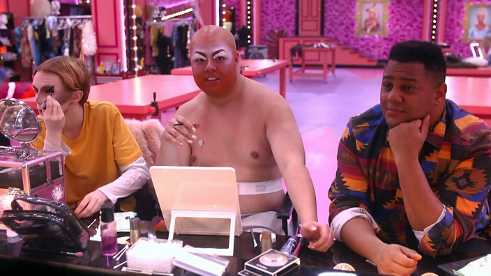 Drag Race UK Episode 2 Scaredy Kat Sum Ting Wong and Vinegar Strokes mirror