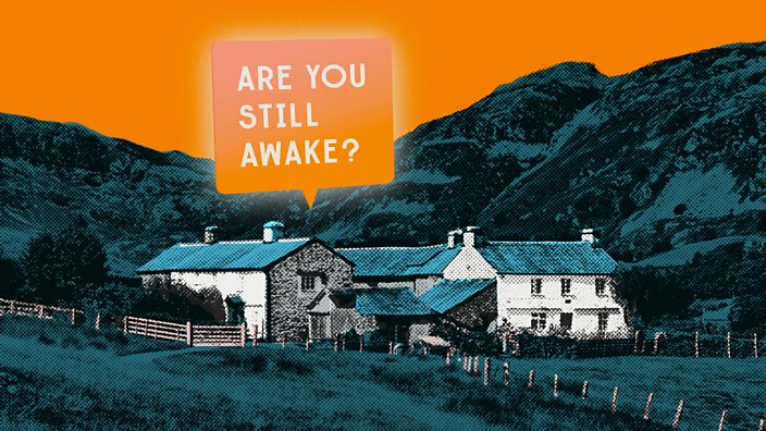 An isolated farm building surrounded by hills at dusk with a message bubble overhead that reads 'are you still awake?'